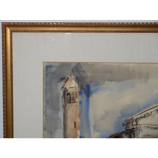 1950s European Street Scene Original Watercolor Painting by Riva Helfond For Sale - Image 4 of 9