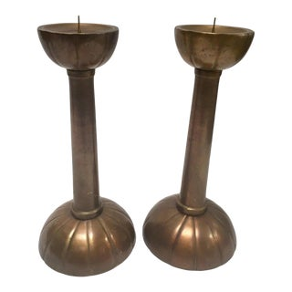 Pair of Large Brass Candlesticks on a Round Scalloped Base and Top For Sale