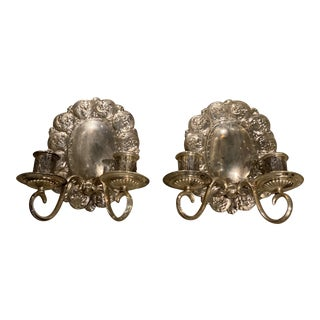 1920s Caldwell Silver Plated Sconces - a Pair For Sale
