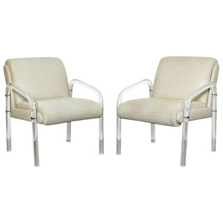Mid Century Modern Charles Hollis Jones Hill Mfg Lucite Armchairs- A Pair For Sale