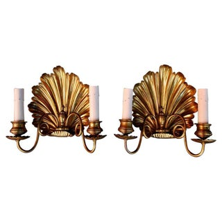 Late 19th Century Brass Shell Sconces - a Pair For Sale