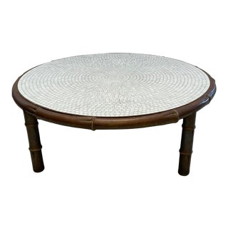 Hollywood Regency Brass Faux Bamboo Coffee Table With Mosaic Glass Top For Sale