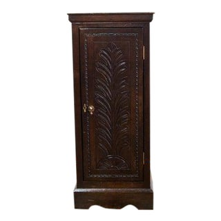 English Traditional Tall Narrow Carved Oak Cabinet For Sale