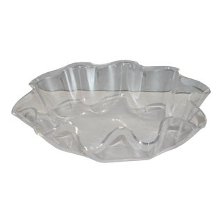 Scalloped Lucite 1970s Modern Serving Bowl For Sale