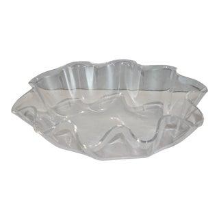 Vintage Scalloped Lucite Serving Bowl For Sale