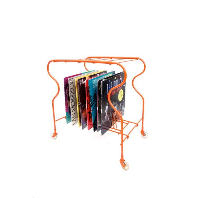 Mid-Century Modern Orange Metal Rolling Record Rack - Image 6 of 11