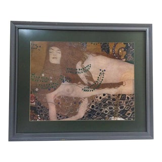 Vintage Mid-Century Klimt Female Nudes Water Serpents Framed Print For Sale