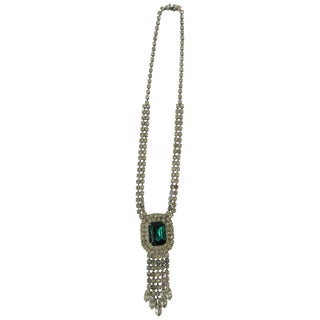 Emerald and Diamond Esque Necklace For Sale
