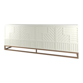Stria Credenza - Brushed Brass Base, Simply White For Sale