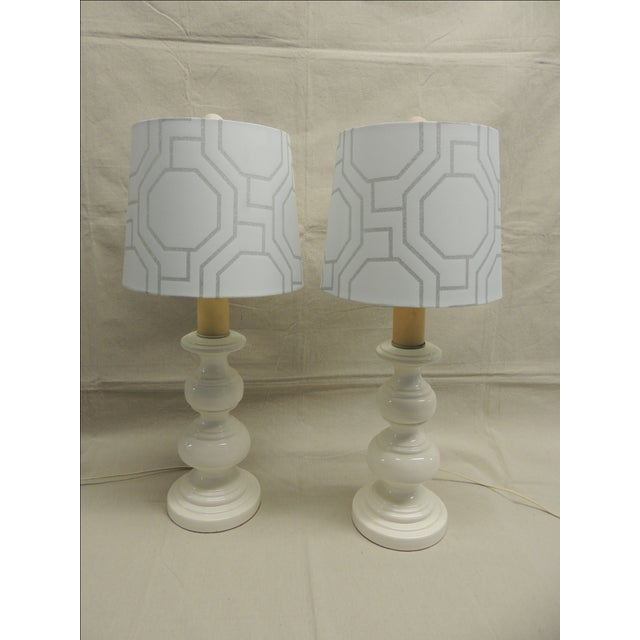 Mid-Century Modern White Lamps - Pair - Image 2 of 4