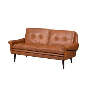 Svend Skipper Midcentury Danish Loveseat Sofa in Brown Leather For Sale