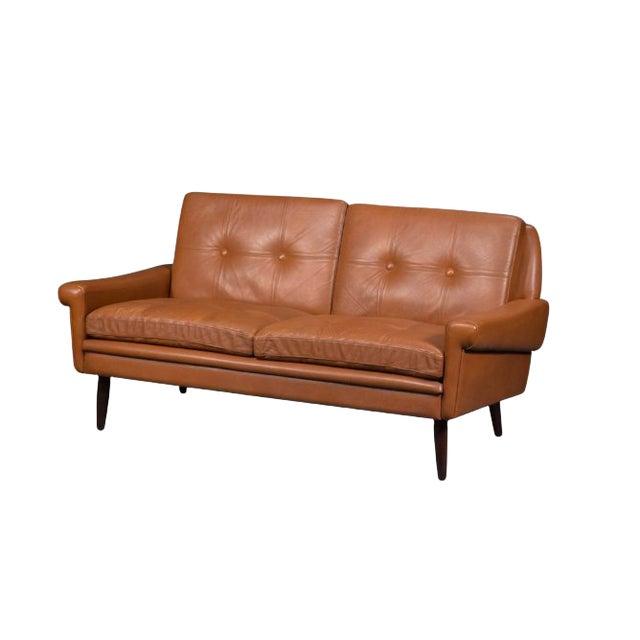Svend Skipper Midcentury Danish Loveseat Sofa in Brown Leather