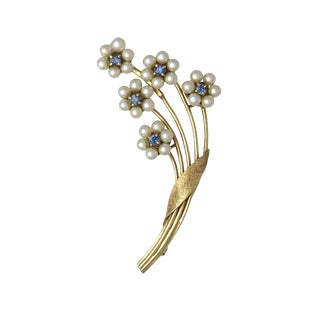 14k Gold Pearl and Sapphire Floral Bouquet Brooch For Sale