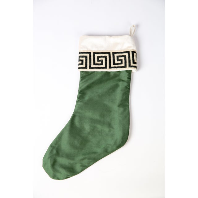 Emerald Silk Greek Key Stocking For Sale - Image 4 of 5