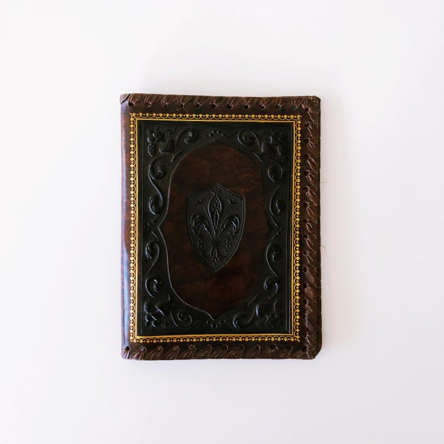 Leather Vintage Embossed Leather Book Jacket For Sale - Image 7 of 7
