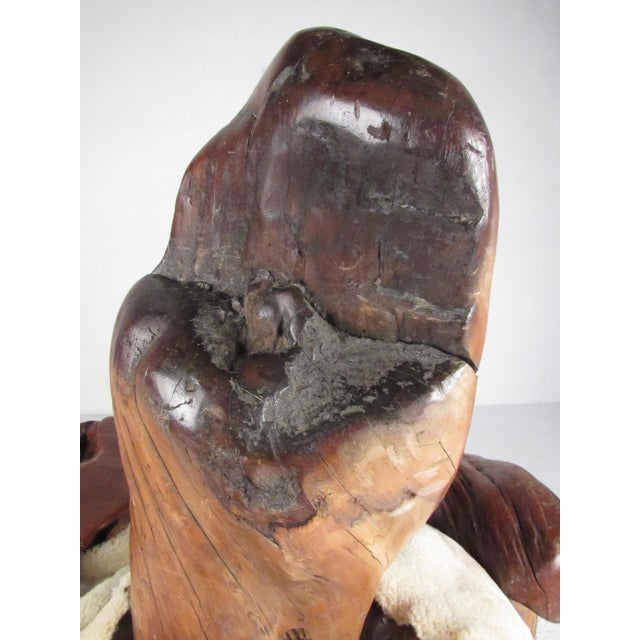 Primitive Live Edge Sculptural Wood Throne Chair For Sale - Image 10 of 11