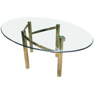 Mid-Century Modern Brass & Glass Dining Table