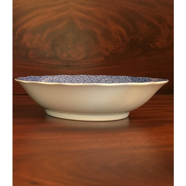 White Japanese Style Scalloped Blue Floral Bowls - Set of 2 For Sale - Image 8 of 12