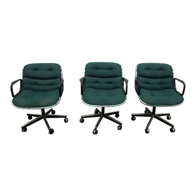 1980's Mid-Century Modern Knoll Charles Pollack Cloth Office Chairs - Set of 3 For Sale