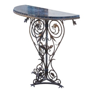 20th Century Art Deco Oscar Bruno Bach Forged Iron and Bronze Marble Top Demilune Table For Sale