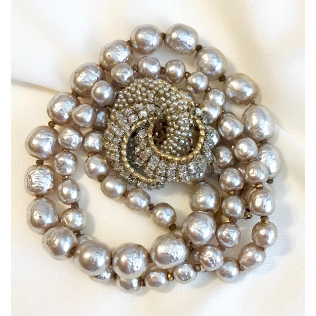 Baroque Miriam Haskell Baroque Faux-Pearl and Rhinestone Bracelet For Sale - Image 3 of 6