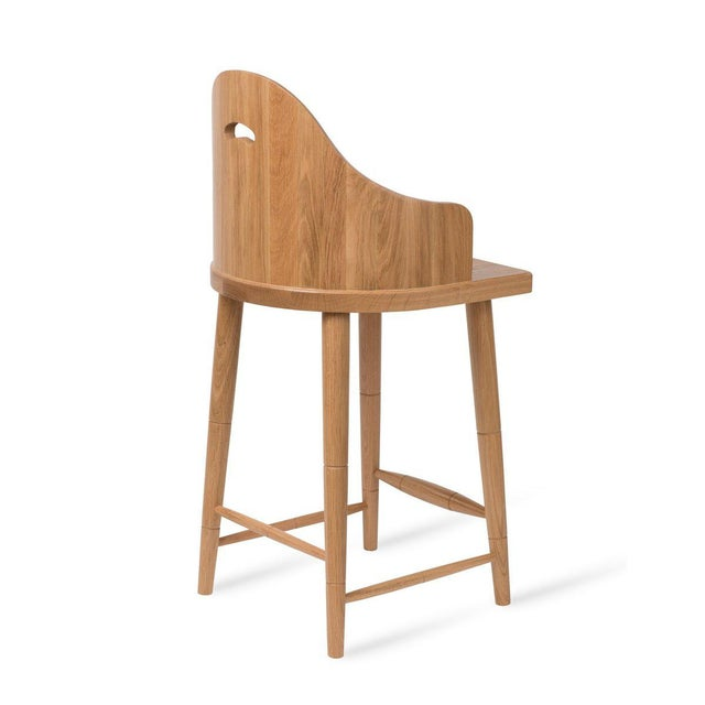 Scooped Back Counter Stool in Natural Oak For Sale - Image 4 of 5