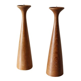 2 Danish Modern Teak Candlesticks Modernist Turned Wood Candle Holders For Sale