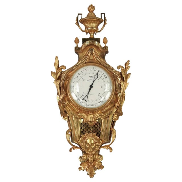 Fine 19th Century French Gilt Bronze Barometer For Sale