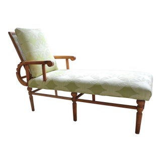 1960s Boho Chic Cane Back Chaise Lounge For Sale