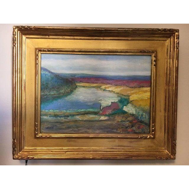 Wood Jeffrey Leitz Original Signed Painting Connecticut Landscape Abtract For Sale - Image 7 of 10