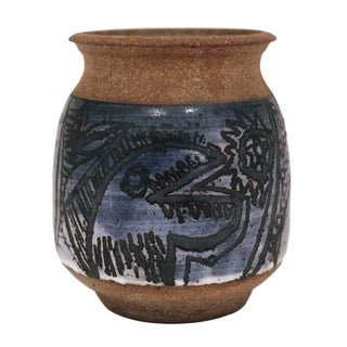 Sgraffito Expressionistic Mid-Century Hand-Thrown Pottery Vase For Sale