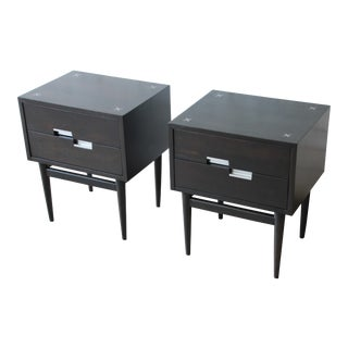 Merton Gershun for American of Martinsville Ebonized Nightstands, Pair