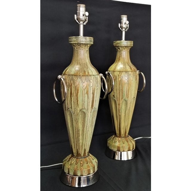 Pair Ceramic Table Lamps - Fully Restored- Faux Marbleized Green Gold and Nickel Plated For Sale - Image 11 of 11