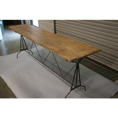 20th Century Industrial Wood Top and Iron Base Console Table For Sale - Image 4 of 5