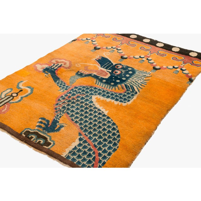 """Blue 19th Century Dragon Rug-4'1'x5'4"""" For Sale - Image 8 of 10"""