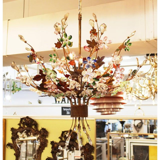 1970s Italian Mid-Century Modern Murano Glass Flower Bouquet Chandelier For Sale - Image 10 of 13