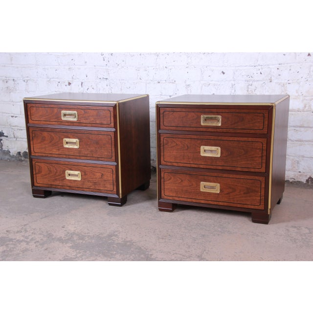 Baker Furniture Campaign Walnut and Brass Nightstands - a Pair For Sale - Image 13 of 13