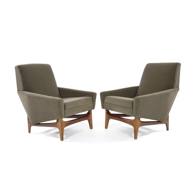 Danish Modern Scandinavian Modern Olive Velvet on Sculptural Teak Base Lounge Chairs - a Pair For Sale - Image 3 of 11