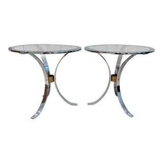 1970s Mid-Century Round Chrome & Glass Side Tables - a Pair For Sale