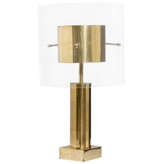 Brass and Lucite Table Lamp, France, 1970s For Sale