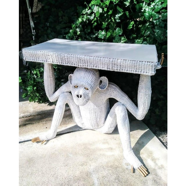 Mario Torres Lopez Vintage Extra Large White Wicker Monkey Hall Console Table For Sale - Image 12 of 13
