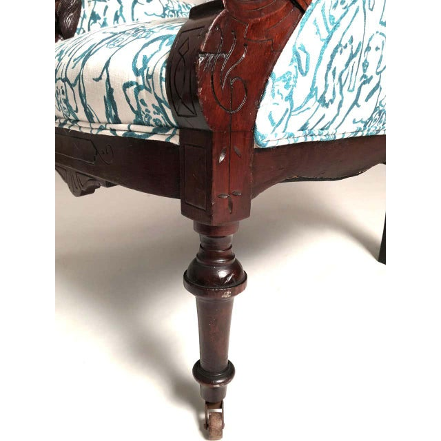 Metal Late 19th Century Victorian Lounge Chair With Carved Dog Head Armrests For Sale - Image 7 of 13