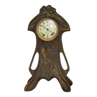 Art Nouveau Polychrome Bronze Case Clock For Sale