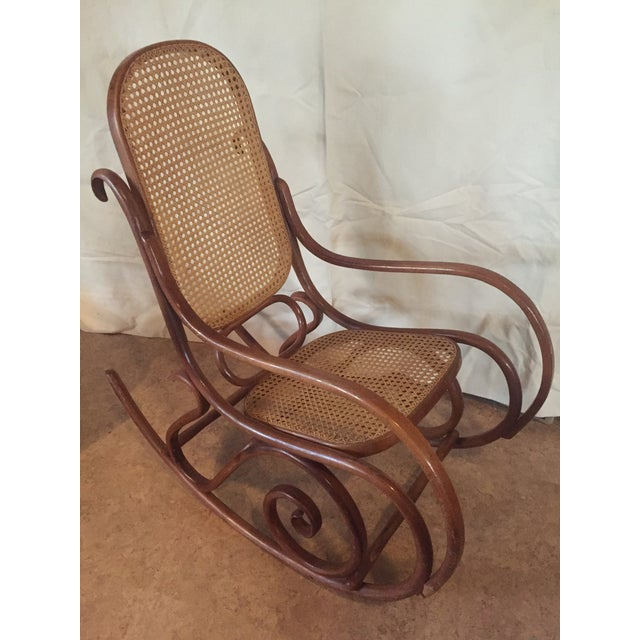 1960s Vintage Thonet Style Bentwood Rocking Chair For Sale - Image 9 of 12