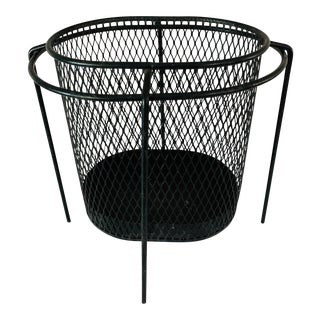Maurice Duchin Floating Iron Mesh Wastebasket Trash Can For Sale