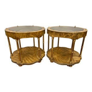 Mid Century Round Burlwood and Glass End Tables - a Pair For Sale