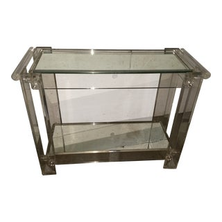 Mid-Century Modern Lucite Mirrored Shelves Bar Cart For Sale