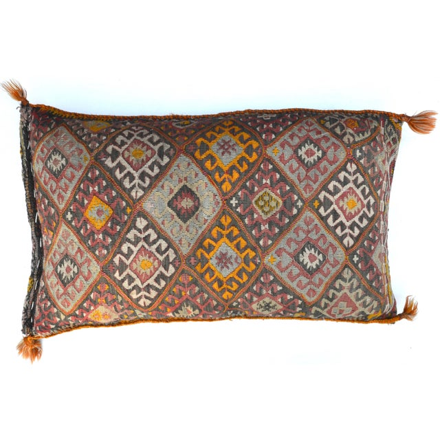 """Vintage Turkish Kilim Pillow 34"""" X 20"""" For Sale In Los Angeles - Image 6 of 6"""