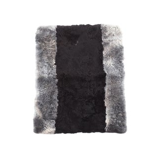 "Kundalini Natural Wool Genuine Black Gray Sheepskin Rug- 2'6""x3'5"""