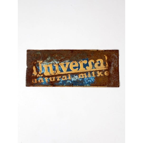 "Vintage ""Universal Nautral Milker"" Metal Sign For Sale - Image 6 of 7"